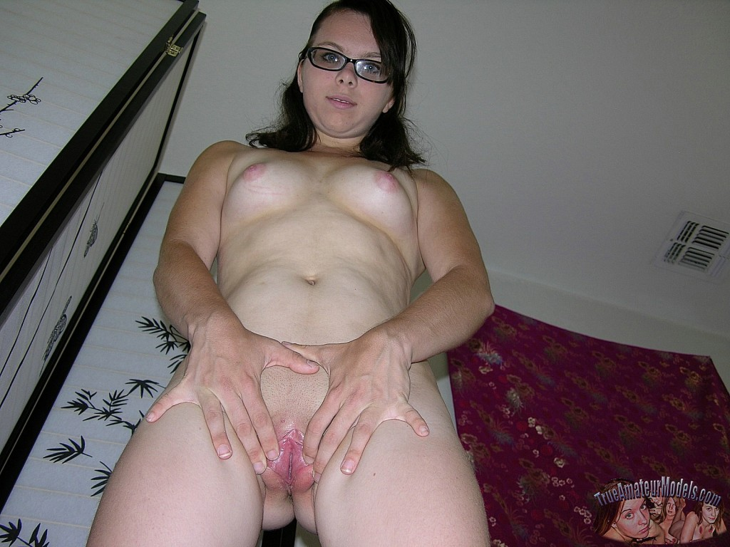 Brunette Glasses Cum Mouth